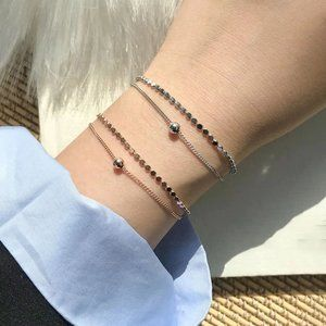 *NEW Rose Gold/Sterling Silver Coin Bead Bracelet